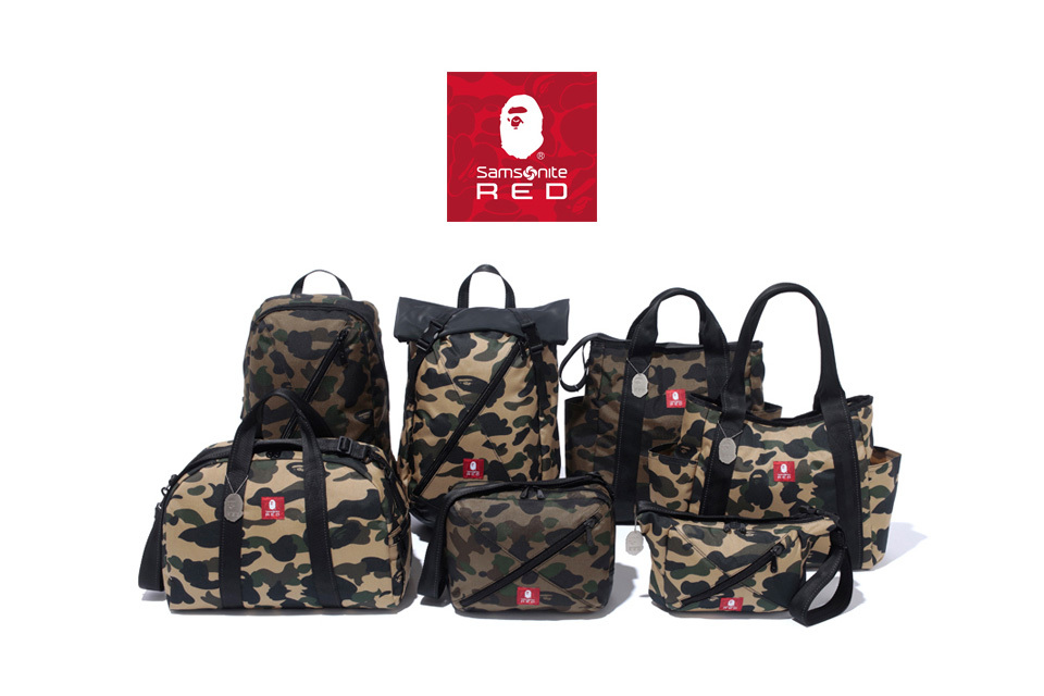 buy online 9a7e6 6edb3 A Bathing Ape x Samsonite RED 联名包袋系列